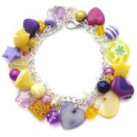 Purple + Yellow Charm Bracelet by fairy-cakes
