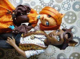 Monster High custom Steampunk Clawd and Toralei by redmermaidwerewolf