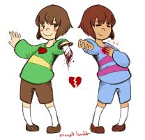 Frisk and Chara by Minryll