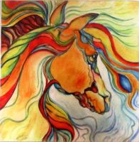 Horse Head Abstract by MadCaDDy85