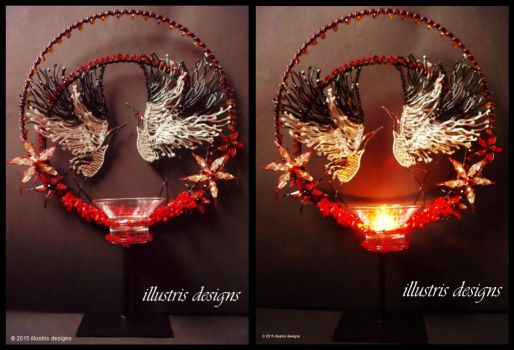 Japanese Cranes sculpture / suncatcher / candle by illustrisdesigns