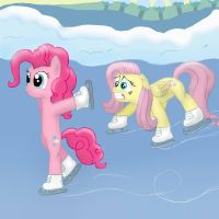 Pinkie Pie and Fluttershy iceskating by FinnishGirl97