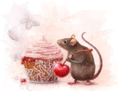 A rat and a cupcake by chante-cler