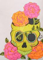 Neon Sharpie Sugar Skull by ToniTiger415