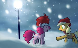 Pinkie Pie and AJ in the snow by fiftyfivefives