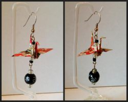 Orange and Black Origami Crane Earrings by Udavrajati