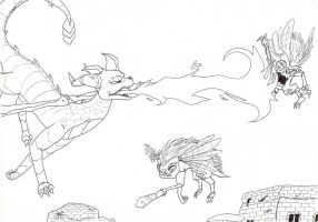 Wings of Fury - lineart by IcelectricSpyro