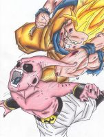 Goku Ssj3 V.s Kid Buu: The Fight Just Started by cheygipe
