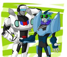 COMMISH- Blurr and Jazz by superhappyvidel