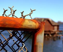 Rusted Fence, By the Pier by wagn18