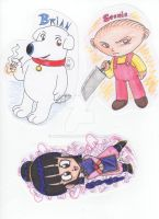 Family Guy and DBZ Chibis by kwessels