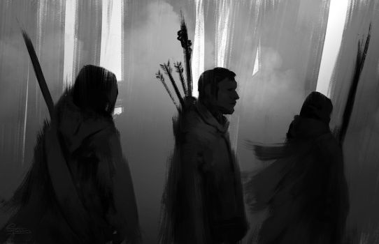 Hunters-in-the-woods-sketch by ctaminian
