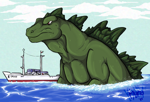 Godzilla70s_CalicoEscort by kurokitty