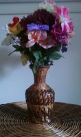 Fake Flowers in a Wooden Vase by AERRG