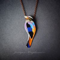 silver breasted broadbill necklace by szaranagayama