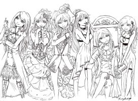Dawn Vocaloid Outfits Lineart by kkbook