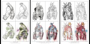 Avenger Step By Step Print Set 01 by RobDuenas