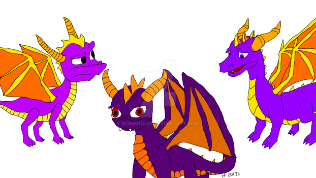 The Redesigns of Spyro the Dragon by Sonikku337