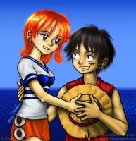 One Piece Fanart: Luffy and Nami by angelvi