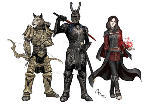 Commission: Kharjo, Onyx, Serana by Fandias