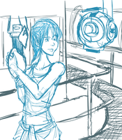 Chell And Wheatley Sketch by MirageFlames