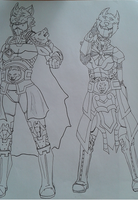 Wolf of Omega armor designs duo by Tinalbion
