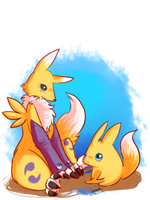 Renamon and Viximon by Pidoodle
