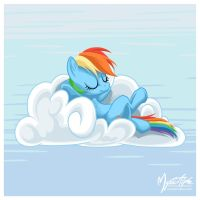 Rainbow Dash on a Cloud 05 by mysticalpha
