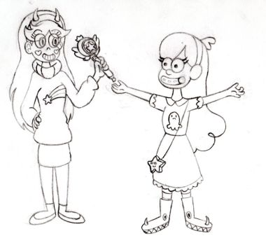 Star Butterfly and Mabel Pines clothes swap by Ardenkopokefan