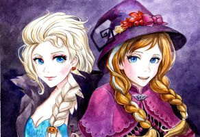 Elsa and Anna Halloween by AnALIBI