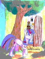 The doormat, the tree, and the two silly ponies. by Tuccsok