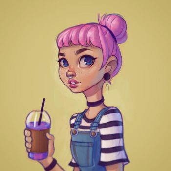 Girl with a Unicorn Frappuccino by chrissie-zullo