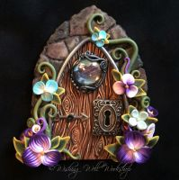 Polymer Clay Fairy Door with Landscape Portal 2 by missfinearts