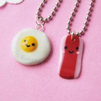 Kawaii Egg And Bacon Necklaces by AsianBunni