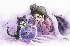 Cat, fish and Girl by froggiechan