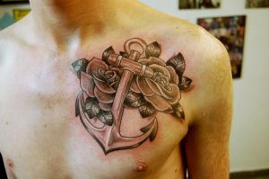 Anchor and roses for Shane. by DotworkDamian
