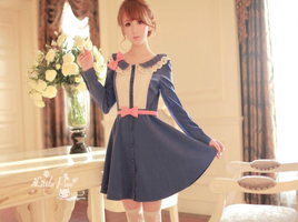 Long Sleeve Lace Collar Ruffles Dress H23062 by littlepawfashion