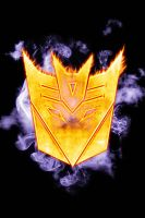 Decepticons logo on fire by elic22