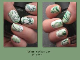 Green water marble nail by Toxic-Sway
