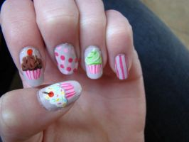 Cupcake Nail Art by whosherlokid