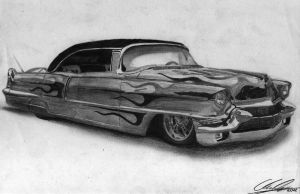 '56 Cadillac Firemaker pencil drawing by xRINAGEx