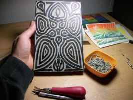 Newly Carved Printing Block Design by VibrantVoid