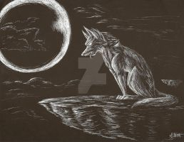 Scratchboard Art: Wolf by Ardnak