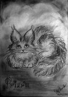 Fluffy alien cat animal with big ears and eyes by SOFIAMETALQUEEN