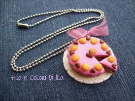 Necklace fimo Strawberry cake by FiloecoloridiIla