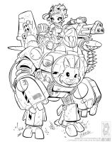 Easter Bunny Mech Inked by motwaaagh