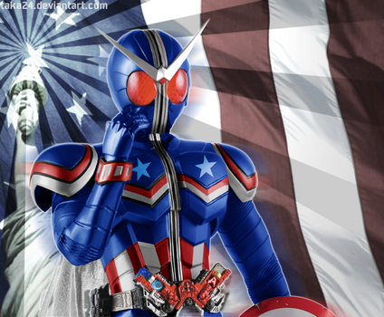 Kamen Rider W Captain America Form by Taka24