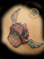 muffin girly skull wings by 2Face-Tattoo