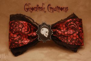Pink Lace Skull Bow by Ghoulish-Creations