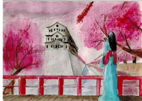 Cherry blossoms watercolor by r4mp4g6